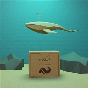 鲸鱼模型牛皮纸盒贴图样机