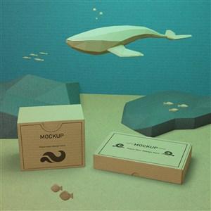 海洋生物与方形牛皮纸盒贴图样机