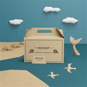 海洋概念牛皮纸盒名片贴图样机