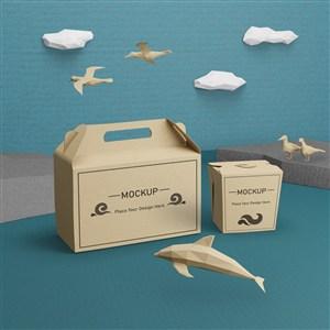 海豚与牛皮纸包装盒贴图样机