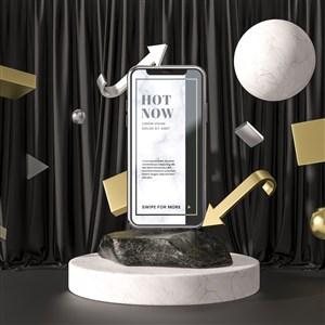 3D箭头石块上的手机贴图样机