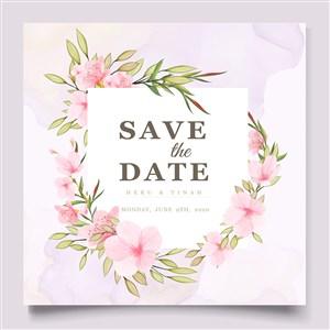 粉色樱花邀请函花纹花边边框矢量模板