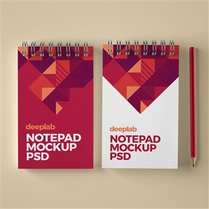 红色高档办公用品vi笔记本贴图样机