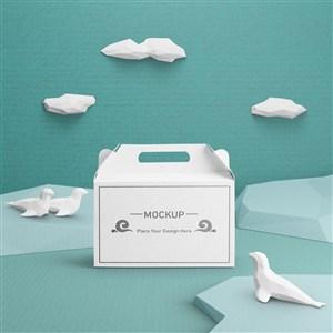 白色包装盒纸盒贴图样机