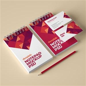 红色高档办公用品vi名片笔记本贴图样机