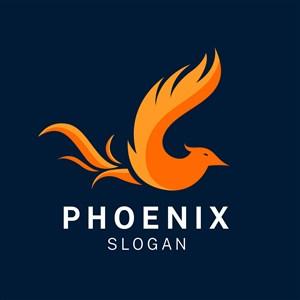 飞翔的凤凰图标科技公司矢量logo设计素材