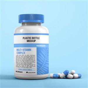 藍色藥瓶貼圖樣機