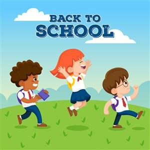 高興去上學的可愛學生返校開學季矢量模板