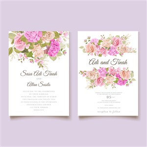 唯美粉色鲜花婚礼邀请函海报背景矢量模板