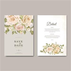 唯美黄色玫瑰花婚礼邀请函背景矢量模板