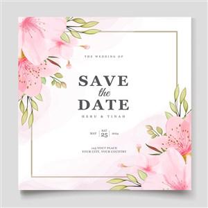 浪漫樱花花朵婚礼邀请函海报底纹矢量模板