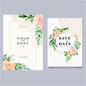 水彩玫瑰花卉邀请函海报矢量背景模板
