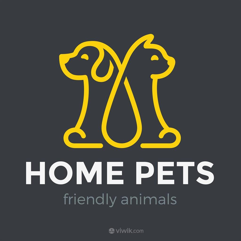 猫狗图标宠物店矢量logo设计素材