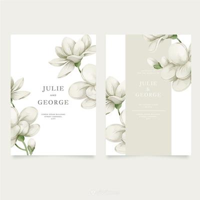 唯美白色栀子花婚礼邀请函背景底纹素材模板