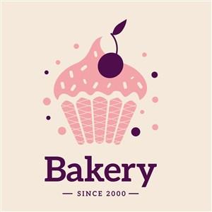 樱桃蛋糕图标甜品店矢量logo设计素材