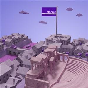 紫色调城市建筑模型
