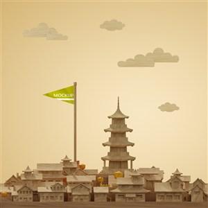 有高塔的城市建筑模型