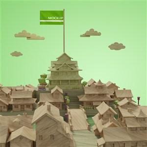 绿色调城市建筑模型