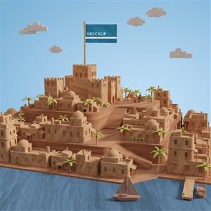 海边城市建筑模型