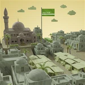 城市建筑与植物模板