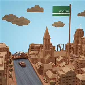 3D城市建筑河流模型