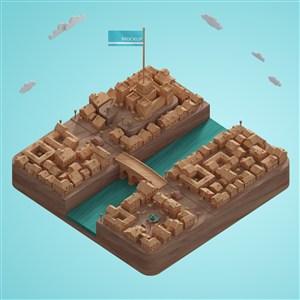 俯视图3D城市模型