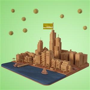 病毒与城市建筑模型