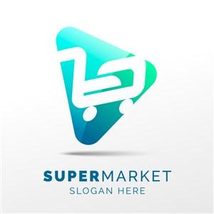 渐变三角形方块购物车图标超市矢量logo