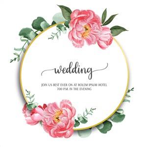 粉色芙蓉花花边边框婚礼邀请函矢量模板