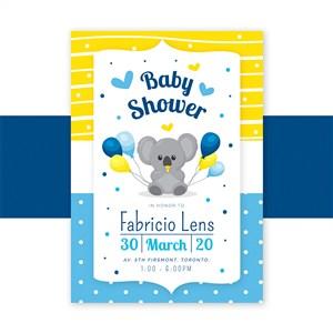 可爱小考拉迎婴派对宝宝生日庆祝海报矢量模板