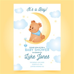 可愛卡通月亮上的小熊迎嬰派對寶寶生日海報矢量模板