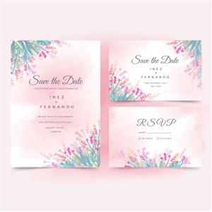 淡雅水彩粉色花朵邀请函名片矢量模板