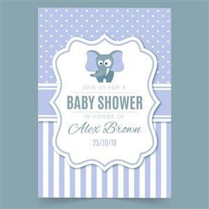 卡通小象迎嬰派對寶寶生日海報矢量模板
