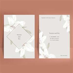 线描百合花婚礼邀请函海报背景底纹矢量模板