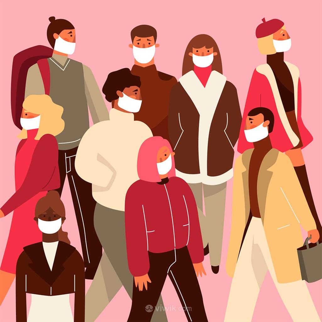 卡通带口罩的人们矢量插画人物素材