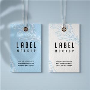 淡蓝色背景标签吊牌贴图样机