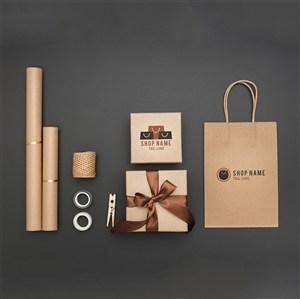 顶视图礼品包装和纸袋贴图样机