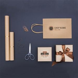 顶视图礼品包装盒购物袋贴图样机
