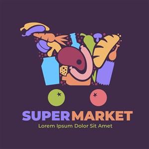 创意购物车图标超市矢量logo设计素材