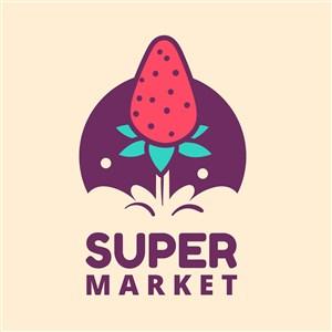 草莓图标水果店矢量logo素材