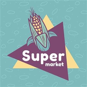 玉米图标超市矢量logo设计素材