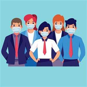 带口罩商务人士上班族矢量人物插图