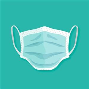 藍色口罩醫療用品矢量圖