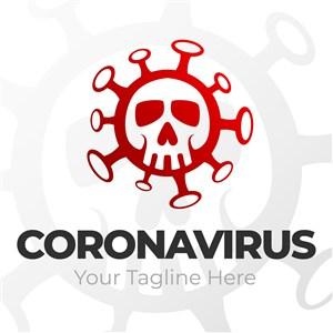 骷髅头冠状病毒标志图标矢量logo