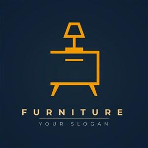 帶燈具的家具圖標家具品牌矢量logo