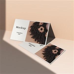 带照片和阴影的卡片贴图样机