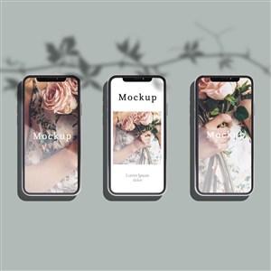 有照片和阴影的3部手机贴图样机