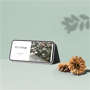 有鲜花和树叶阴影的手机贴图样机