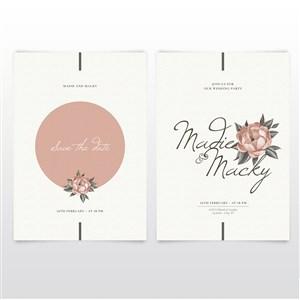 浪漫复古花朵邀请函海报背景底纹矢量模板