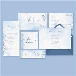 淡蓝水彩艺术线描花纹邀请函名片背景矢量模板